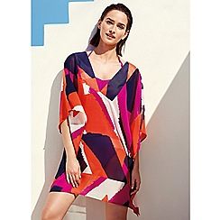 J by Jasper Conran - Multi-coloured shard print chiffon v-neck kaftan