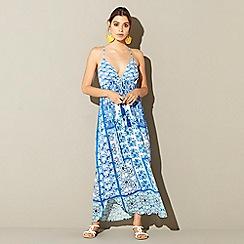 MW by Matthew Williamson - Blue tile print V-neck maxi beach dress