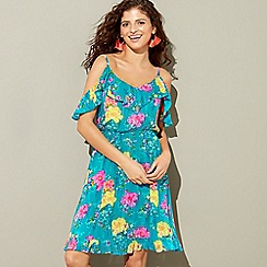 Floozie by Frost French - Blue floral print 'Waterfall' V-neck cold shoulder mini dress