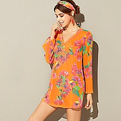MW by Matthew Williamson - Orange floral print embellished V-neck long sleeve kaftan dress