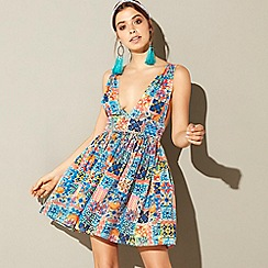 MW by Matthew Williamson - Multi-coloured tile print 'Deia' V-neck mini beach dress