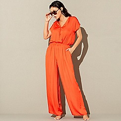 Beach Collection - Red V-neck jumpsuit