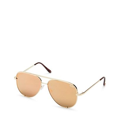 Quay Australia   Gold 'high Key' Mini Aviator Sunglasses by Quay Australia