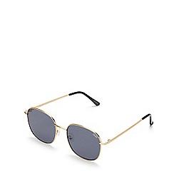 Quay Australia - Gold 'Jezabell' oversized round sunglasses