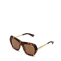 Quay Australia - Brown 'Common Love' geometric sunglasses