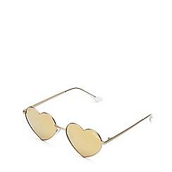 Quay Australia - Gold 'Heart Breaker' geometric sunglasses