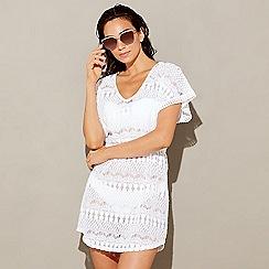 Beach Collection - White crochet cotton blend V-neck short sleeve mini kaftan