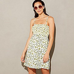 abde6e5f55 Beach Collection - White ditsy floral print shirred bandeau mini beach dress
