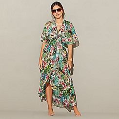 MW by Matthew Williamson - Multi-coloured jungle print chiffon V-neck short sleeve kaftan
