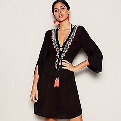 MW by Matthew Williamson - Black embroideredV-neck long sleeve knee length kaftan