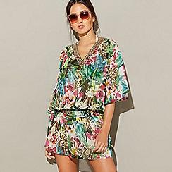 MW by Matthew Williamson - Multi-coloured jungle print chiffon V-neck 3/4 sleeves maxi kaftan dress