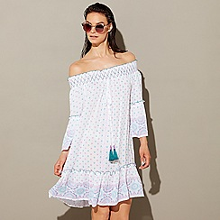 Mantaray - Mult-coloured boho print cheesecloth Bardot neck long sleeve mini beach dress