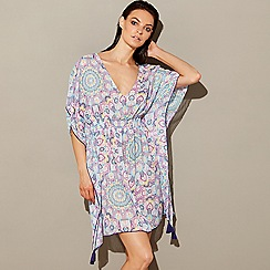 Mantaray - Multi-coloured boho print 'Daydreamer' V-neck 3/4 sleeves mini kaftan