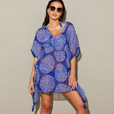 Mantaray   Multi Coloured Mandala Print Chiffon V Neck 3/4 Sleeves Mini Beach Dress by Mantaray