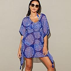 Mantaray - Multi-coloured mandala print chiffon V-neck 3/4 sleeves mini beach dress