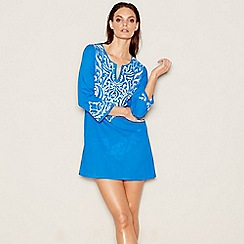 J by Jasper Conran - Blue embroidered cotton V-neck mini kaftan