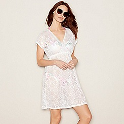 Mantaray - White floral lace V-neckline mini kaftan