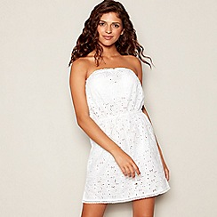 Floozie by Frost French - White broderie bandeau mini beach dress