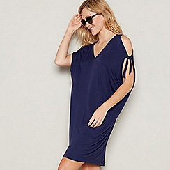 Debenhams - Navy V-neck cold shoulder mini kaftan