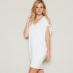 Debenhams - White V-neck cold shoulder mini kaftan