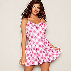 Floozie by Frost French - Pink gingham print V-neck playsuit