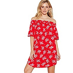 Debenhams - Red floral print Bardot neck mini dress