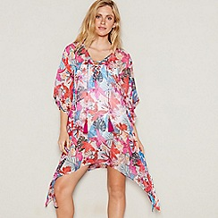 Beach Collection - Multi-coloured tropical floral print V-neck mini kaftan