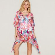 b312be29af Beach Collection - Multi-coloured tropical floral print V-neck mini kaftan