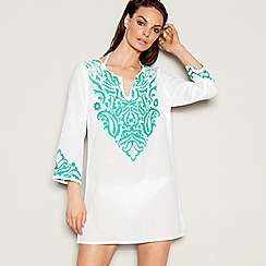 J by Jasper Conran - White paisley embroidered cotton V-neck long sleeve mini kaftan