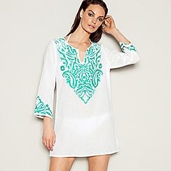 J by Jasper Conran - White paisley embroidered cotton V-neck long sleeve mini kaftan