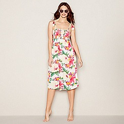 Mantaray - White floral print square neck midi beach dress
