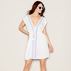 Mantaray - White stripe print V-neckline mini kaftan