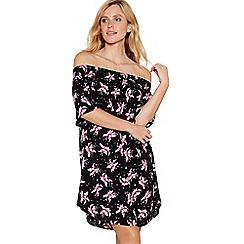 Debenhams - Black floral print Bardot neck mini dress