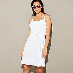 Beach Collection - White frill cheesecloth round neck mini beach dress