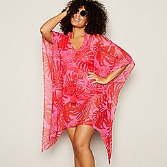 Beach Collection - Pink Tonal Leaf Mini Kaftan