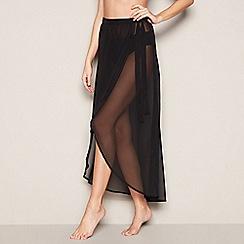 Faith - Black sheer midi wrap skirt