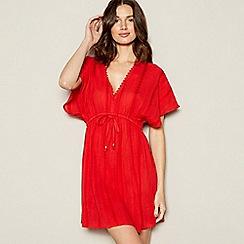 Mantaray - Red Textured Cotton Kaftan Dress