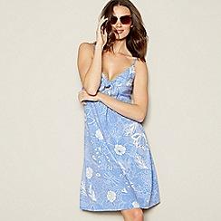 Mantaray - Blue 'Indian Summer' Print Cotton Dress