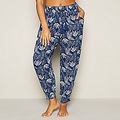 Beach Collection - Navy Floral Leaf Print Trousers