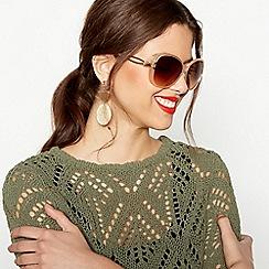 Beach Collection - Nude Oversized Diamante Sunglasses