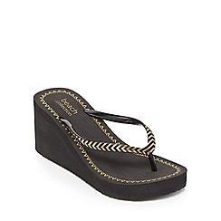 Beach Collection - Black 'Cleopatra' High Wedge Heel Flip Flops