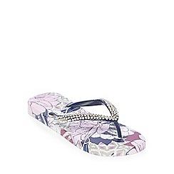 Beach Collection - Lilac Floral Tile Print Flip Flops