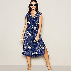 Beach Collection - Navy leaf print midi dress