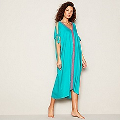 MW by Matthew Williamson - Turquoise Embellished Maxi Kaftan