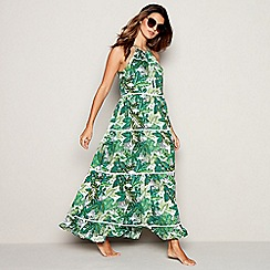Mantaray - Green Jungle Leaf Print Tiered Maxi Dress