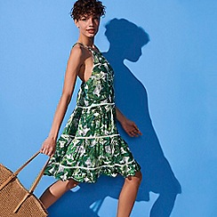 Mantaray - Green Jungle Leaf Print Tiered Mini Dress