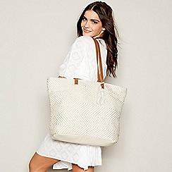 Beach Collection - White Metallic Woven Beach Bag