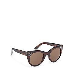 Beach Collection - Brown tortoise shell diamante cat eye sunglasses