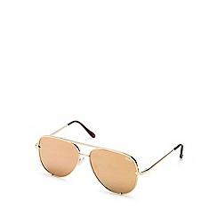Quay Australia - Gold 'High Key' oversized aviator sunglasses