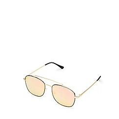 Quay Australia - Gold 'To Be Seen' oversized classic sunglasses